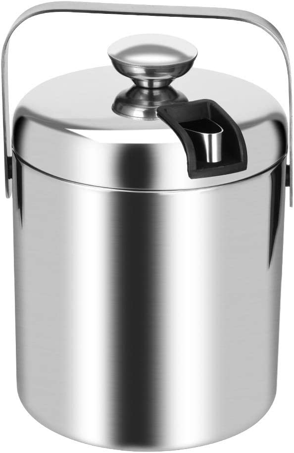 WJCCY Double Max 47% Popular OFF Walled Ice Bucket Cube Steel Stainless Containe