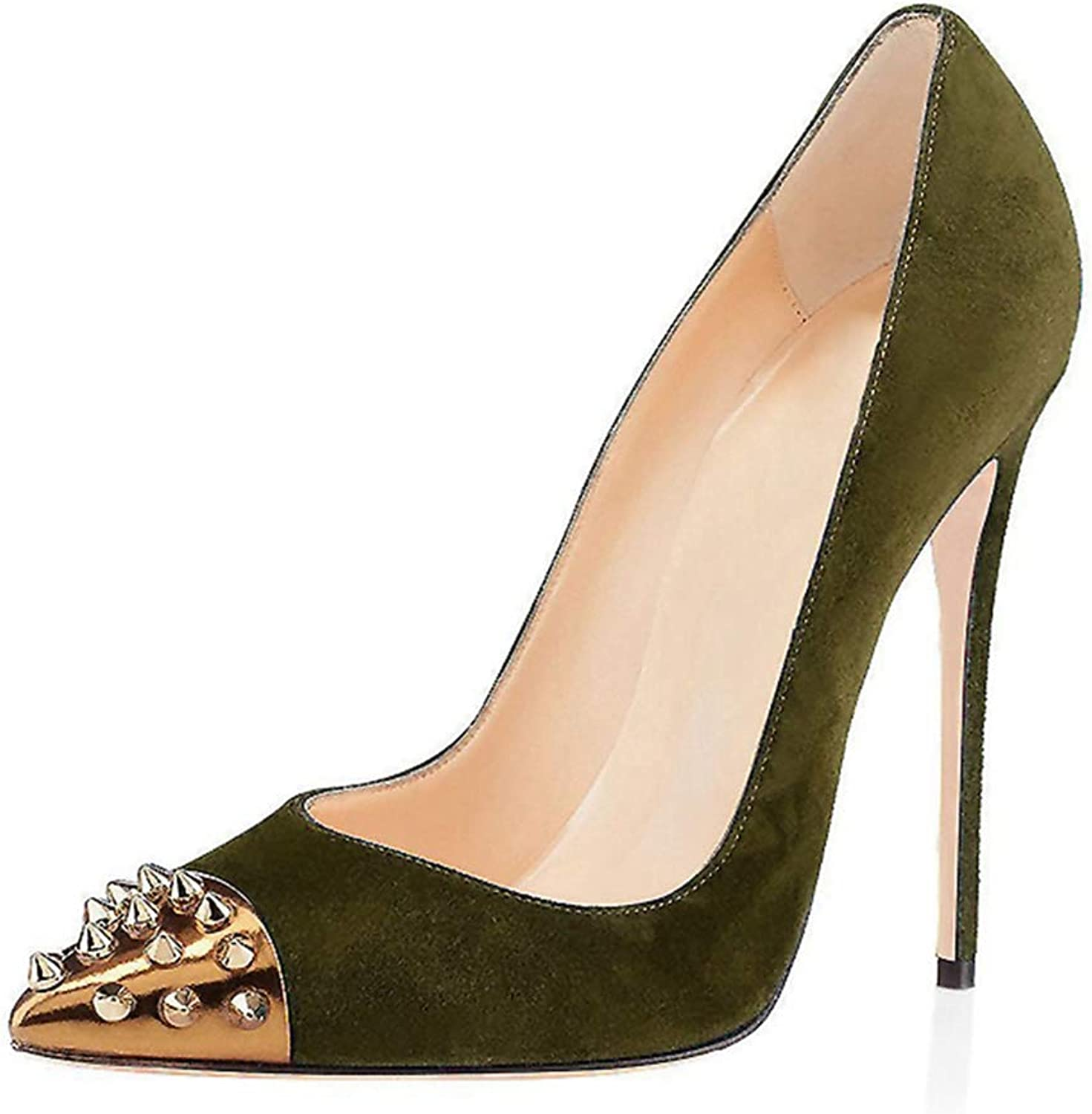 Women shoes Pump gold Rivet Pointed Toe Sandal Ladies Wedding Party Heeled Sandals