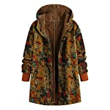 MORETIME Warm Coats for Women, 2019 Autumn Winter Ladies Hoodie Thicken Solid Print Patchwork Button Pocket Outwears Soft Loose Comfort Plus Size in Full Day