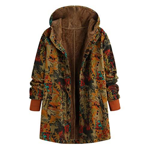 Geilisungren Damen Warm Kaschmir Wintermantel Vintage Blumen Gedruckt Kapuzenjacke Große Größen Gefüttert Winterjacke Knöpfe Outwear Fleecemantel mit Taschen für Frauen