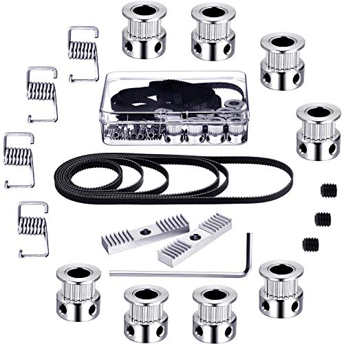 27 Pieces GT2 Timing Belt Pulley Include 8 Timing Belt 6 mm Width, 8 Pieces 20 Teeth 8 mm Bore Belt Pulley Wheel, 8 Tensioner Spring Torsion, 2 Gear Clamp Mount Block with Allen Wrench for 3D Printer