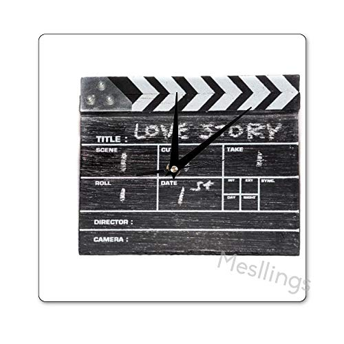 Mesllings Schaalvrije Wandklokken Liefdesverhaal Action Vierkante Wandklok, Wanddecoratie Klokken voor Keuken, Kantoor, Retro Hangklok, Huisdecoratie Accessoires