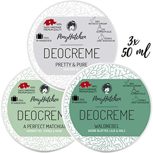 3x 50 ml - Bestsellerset - Naturkosmetik Deo Creme ohne Aluminiumsalze - natürliches Deodorant - vegan - bio