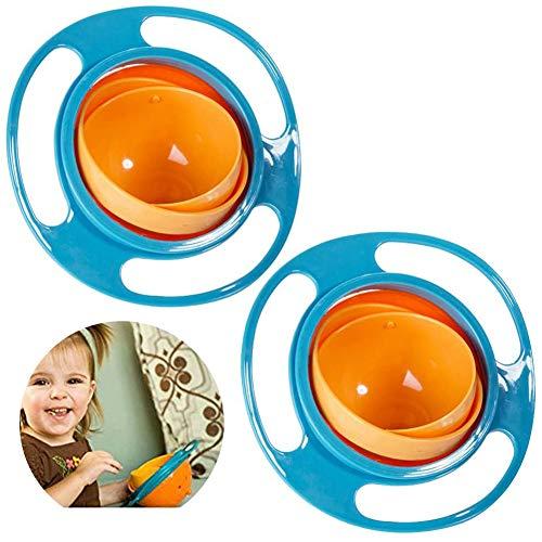 QWEPU Bol Enfant Anti Renversement -Bol Rotatif Anti-Renversement à 360 ° en Forme de UFO pour La Formation D'utilisation du Bol du Bébé Evite Les Plats 2pcs