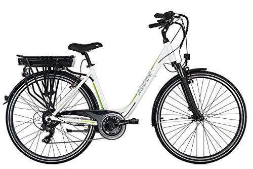 Adore E-City Bike Damen Versailles 28\'\' Alu Pedelec weiß-grün 7 Gang E-Bike 250Watt Li-Ion 36V/10,4Ah