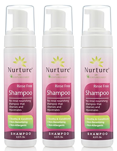 No Rinse Shampoo by Nurture | Rinse Free Shower Cap Alternative - Foaming Pump Bottle - Waterless Nourishing Foam Shampoo That Cleanses and Rejuvenates - 3 Bottles - 8.5 fl oz Each
