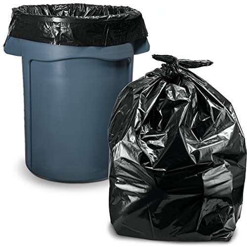 "55-60 Gallon Trash Bags, (100 Count/w Ties) Large Black Trash Bags, 38""W x 58""H, 1.2 Mil"