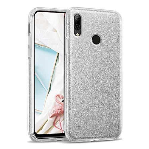 Glitter Crystal Compatible con Funda Huawei P Smart Z, Brillo Bling Brillante Purpurina Diamantes Carcasa Ultrafino Suave Silicona TPU y Dura PC Bumper Case Cover - Plata
