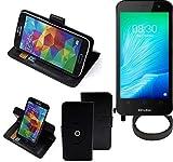 K-S-Trade® Case Schutz Hülle Für TP-LINK Neffos Y50 + Bumper Handyhülle Flipcase Smartphone Cover Handy Schutz Tasche Walletcase Schwarz (1x)