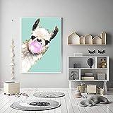 Leinwanddruck Alpaka Leinwand Gemälde Lama Poster Und Drucke Bild Tier Wanddekoration Kunst Bilder Für Wohnkultur 50Cmx70Cm