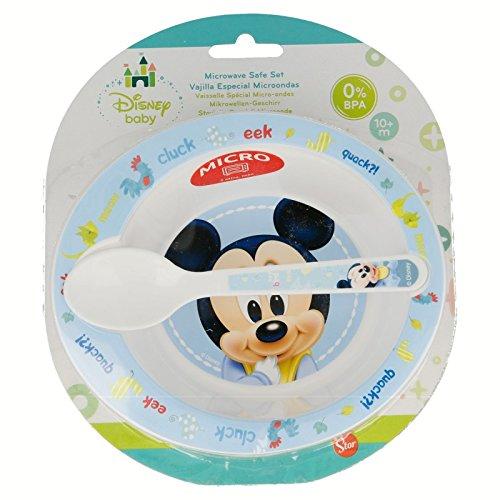 Mickey Mouse Mikrowelle 2Teile Set–Schüssel und Löffel PP Stor 39878