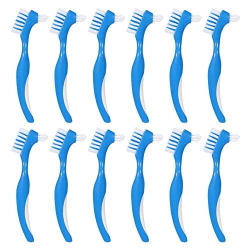 Baring 12 Pack Denture Brush Hard Denture Cleaning Brush False Teeth Brush Toothbrush