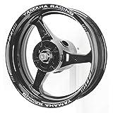 AxxL バイク 17インチ カスタムリムステッカー ヤマハレーシング AxxL-YAMAHA (シルバー)