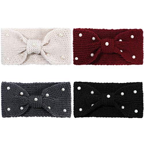 Tacobear 4Stk Stirnband Damen Winter Strickstirnband mit Perle Gestrickt Haarband Kopfband Warm Bowknot Stirnband Ohrenwärmer Winter Herbst Haar Zubehör für Frauen
