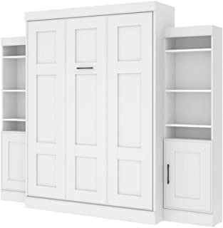"""Bestar Queen Wall Bed with Two 21"""" Storage Units and Doors - Edge"""