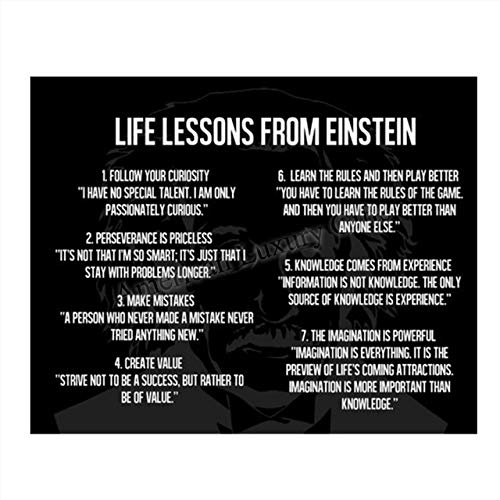 Einstein Quotes Wall Art-'Logical Life Lessons'- 8 x 10' Art Wall Print- Ready to Frame. Thinking Home Décor, Studio & Class Décor. Perfect Gift for Motivation & Inspiration with Einstein Image.