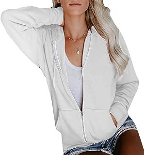 Women Slim Fit Solid Lightweight Zip Up Hoodie Sweatshirt Jacket