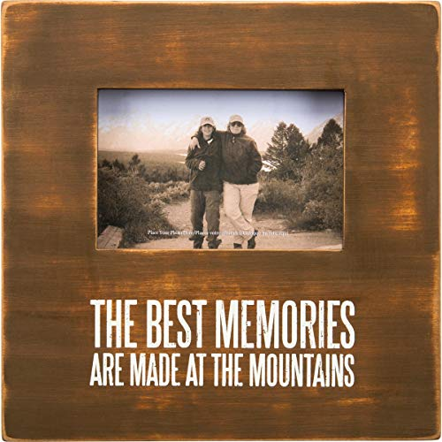 Primitives by Kathy 27375 Distressed Wood Box Frame, 10 x 10-Inches, Memories are Made at The Mountains