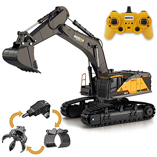 deAO 4-in-1 22 Channel Remote Control 1:14 Alloy Drill, Claw, Fork and Bucket Excavator Construction Digger Truck with Realistic Functions – Great Fun for Kids and Adults