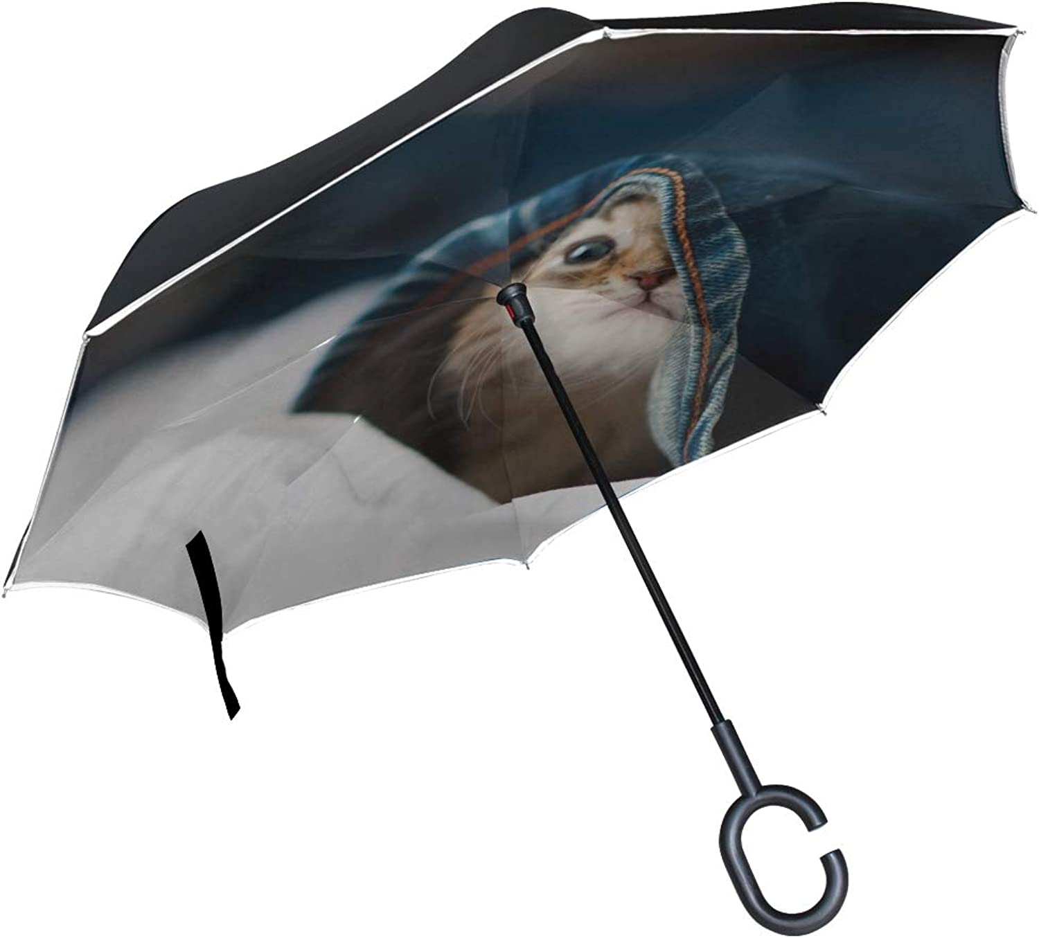 Rh Studio Ingreened Umbrella Kitten Face Jeans Playful Peek Large Double Layer Outdoor Rain Sun Car Reversible Umbrella
