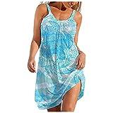 URIBAKY - Vestido para mujer, vestido de playa, informal, falda larga, cuello redondo, mini vestido corto, casual, vestido largo sin mangas B-azul. XL