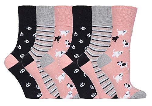 6 pares de calcetines de Sock Shop Everyday Gentle Grip para damas EUR 37-42, UK 4-8 Con panal suave top