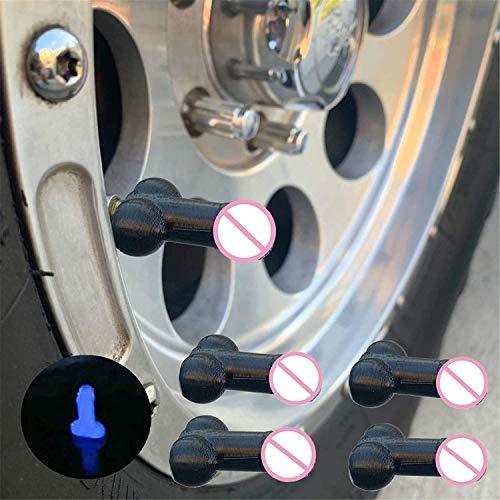 Tapas de neumáticos en forma de broma, 4 piezas de tapones para válvula de neumático para coches, SUV, bicicletas, motocicletas, gran diversión para bromas despedidas de soltera (negro)