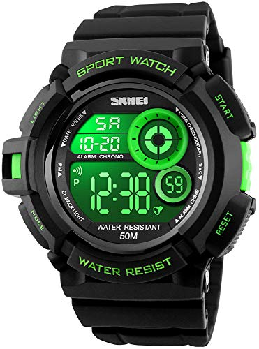 Mens Military Multifunction Digital Watches 50M Water Resistant Electronic 7 Color LED Backlight Black Sports Watch (Green)