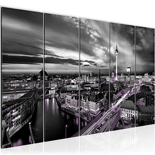 Runa Art Wandbild Wohnzimmer Berlin Skyline 200 x 80 cm Schwarz Violett 5 Teilig - Made in Germany - 0043c