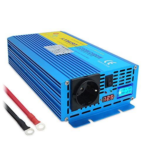 Inversor de corriente 12 V 230 V 1200 W /2400 W puro Sinus transformador con pantalla...