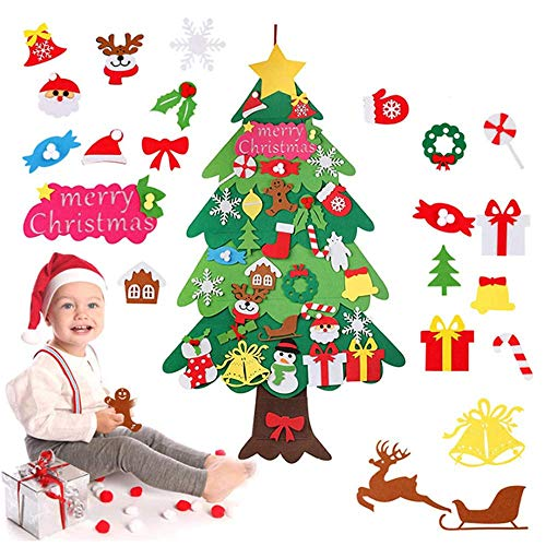 Zueyen Árbol de Navidad de Fieltro, árbol de Navidad de Fieltro para niños pequeños con 34 Piezas de Adornos Desmontables, árboles de Navidad de 115 cm
