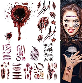 11 Sheets Halloween Zombie Tattoos, Zombie Makeup Kit, Scar Tattoos, 100+ Horror Realistic Fake Blood Temporary Tattoos Bleeding Wound Horror Injury Tattoo Stickers for Zombie Cosplay Party