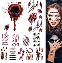 10 Sheets SUGAR Halloween Costume Temporary Tattoos Stickers Vampire Zombie Temporary Tattoo Fake Wound Stickers fit Halloween Cosplay Party