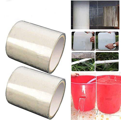2pcs Cinta Impermeable, PVC Reparación de Fugas Cinta Autoadhesiva, Herramienta de Fijación para Emergencia Pipa Plumbing y Tubo de Agua...
