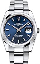 Rolex Date 34mm Blue Dial Stainless Steel Men's Watch 115200
