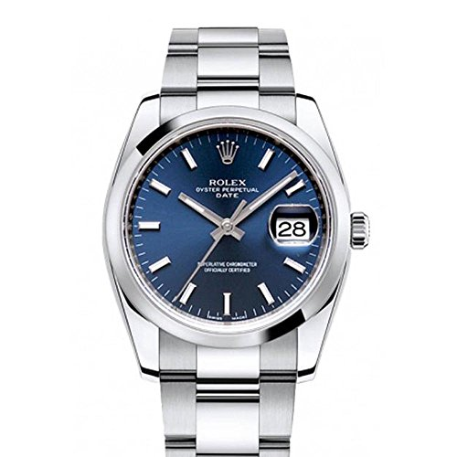 Rolex Date 34mm Blue Dial Stainless...