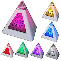 Renxinu Children Alarm Clock,7 Color Changing Digital Desk Clock with Natural Sound Thermometer Calendar,Creative Triangle Digital Display Gift for Kids Friend