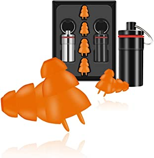 Set of 4pcs (2 sizes) Silicone Reusable Noise Cancelling Ear Plugs Hearing Protection Noise Reducing Ear Care Product for Sleeping Travelling,4 Colors Optional (Orange)