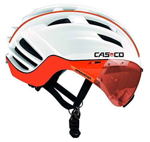 Casco Fahrradhelm Speedster-TC Plus Ciclismo con Pantalla incluida, Color Blanco/Naranja, Talla M...