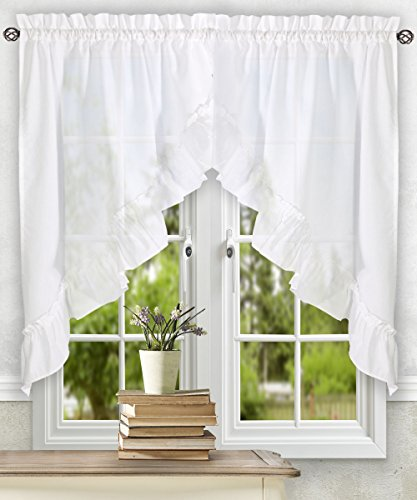 "Ellis Curtain Stacey Ruffled Swag, 60"" x 38"", White"