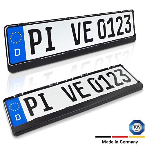 Juego de 2 portamatrículas para todos los vehículos europeos (excepto Austria) - Resistente a la intemperie y certificado TÜV para su coche - Negro