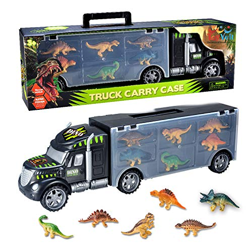ToyVelt Dinosaurs Transport Car Carrier Truck Toy with Dinosaur Toys Inside - The Best Dinosaur Toy For Boys And Girls Ages 3,4,5, Years Old And Up