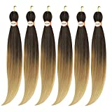 ANGEL GRACE Pre Stretched Braiding Hair 30inch 6 packs Synthetic Crochet Braids Professional Soft Yaki Texture easy twist braid itch Free Hair Extensions(30inch, 1B/27/613)