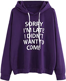 Seaintheson Women Hoodie Top, Womens Letters Print Long Sleeve Shirt Sweatshirt Pullover Blouse