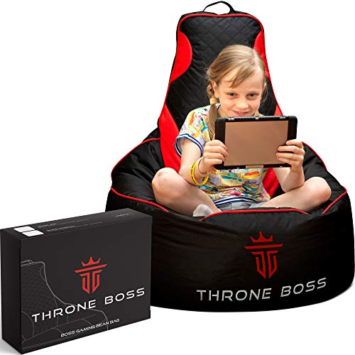 Premium Gaming Bean Bag Chair Kids [Cover ONLY No Filling], Video Game Chair, Beanbag Chairs for Kids and Teens, Bean Bag Gaming Chair (Black/Red) Bags Bean Dining Features Home Kitchen