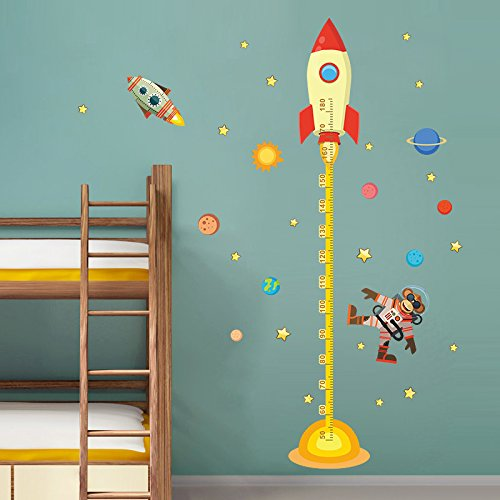 M$M shop Diy Outside Space Planet Monkey Pilots Home Rocket Decal Height Wall Measurement Sticker For Kids Room Nursery Growth Chart