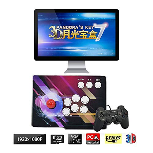 Arcade Game Console 3D Home Arcade Game Console, 1920x1080 Full HD 1 Player Max Arcade Machine 2680 Retro Games, Support Extended TF Card& USB Disk to Enjoy More Games PC/Laptop/TV / PS4, QL-07