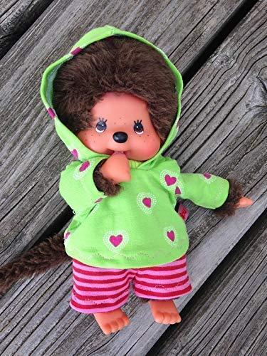 Puppenkleidung handmade für MONCHICHI Gr. 20 cm MONCHHICHI Bekleidung Kapuzenshirt Hoodie + Hose Kleidung kiwi Herzchen