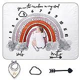 Miracle Baby Manta Mensual De Hito Para Bebé, Manta de Hito Recién Nacidos Para Fotos, Regalos Personalizados Para Futuras bebé, Registre la Edad y el Crecimiento de Bebé.(150cm*120cm)