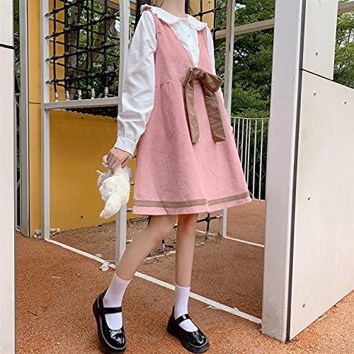 YUNCHENG Japonés lolita dulce vestido lolita vestido calle streetwear camisa kawaii ropa dulce lolita vestido muñeca cuello arco encaje hacia arriba Corduroy suspender falda de estilo universitario ve